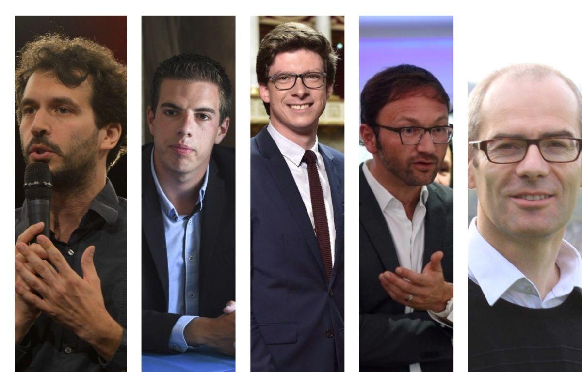 Bastien Lachaud (France Insoumise), Ludovic Pajot (Front national), Pierre-Henri Dumont (Les Républicains), Patrick Mignola (MoDem), Yannick Kerlogot (La République en marche) –  ISA HARSIN/SIPA ; DENIS CHARLET / AFP ; PHILIPPE DESMAZES / AFP