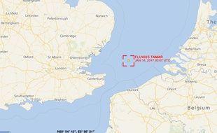 Position du Fluvius Tamar, au large de Dunkerque