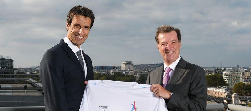 Tony Estanguet, le président du comité d'organisation de Paris-2024, officialise le partenariat avec le groupe BPCE, le 13 septembre 2018.
