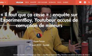 Capture d'écran du site « Numérama »