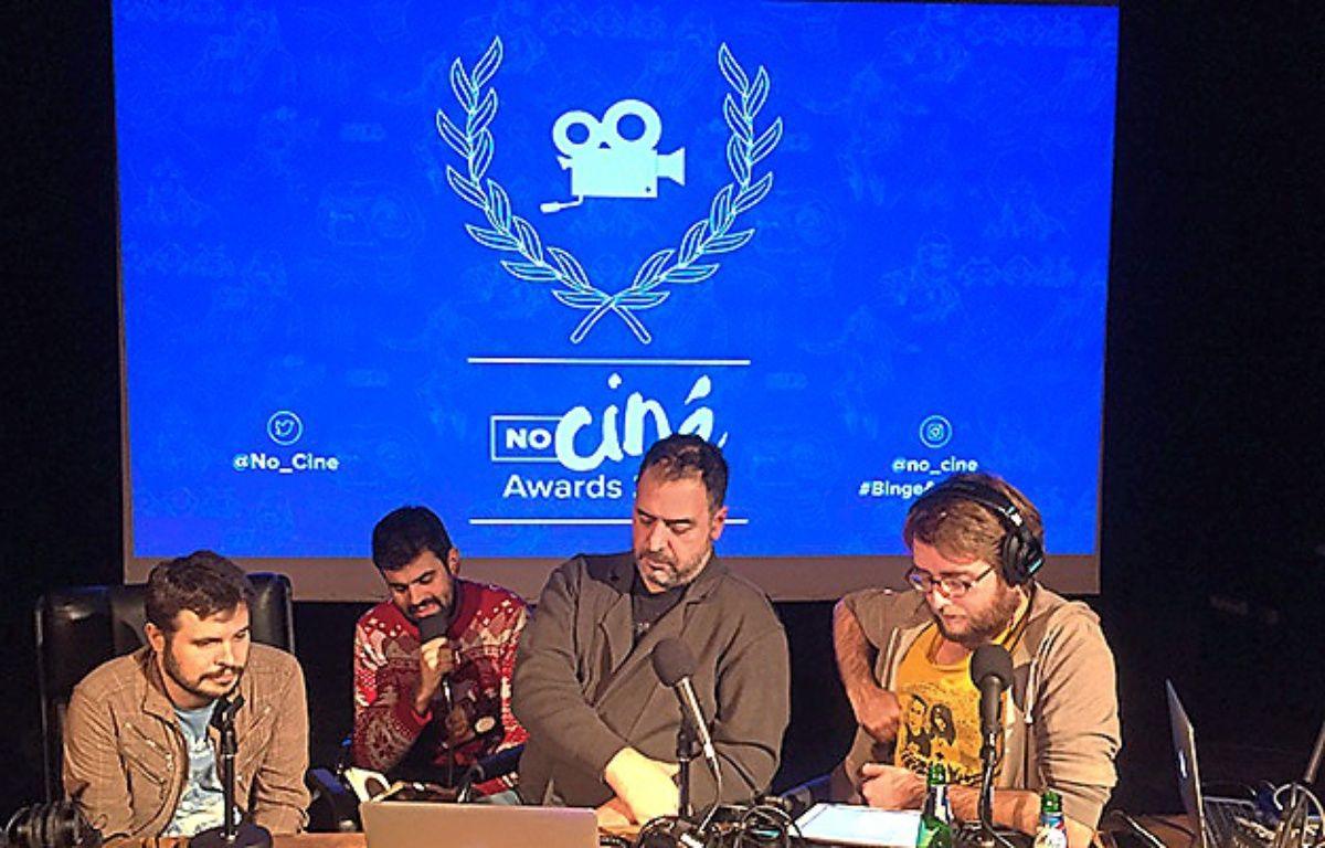 Daniel Andreyev, Alexandre Hervaud, Rafik Djoumi et Thomas Rozec, lors d'un l'enregistrement du podcast NoCiné, produit par Binge Audio. – Joel Ronez/Binge Audio
