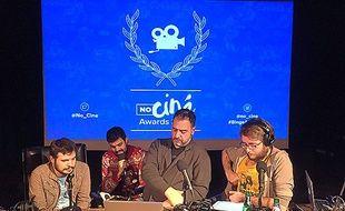 Daniel Andreyev, Alexandre Hervaud, Rafik Djoumi et Thomas Rozec, lors d'un l'enregistrement du podcast NoCiné, produit par Binge Audio.