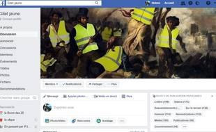 Capture d'écran d'une des principales pages de gilets jaunes en France sur Facebook.