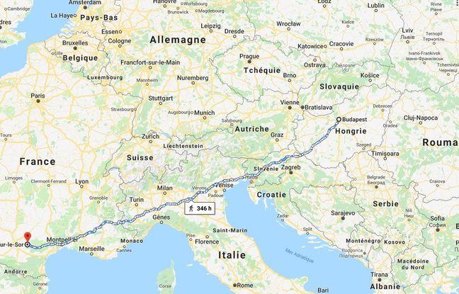 Le trajet entre Budapest et Cambounet, dans le Tarn.
