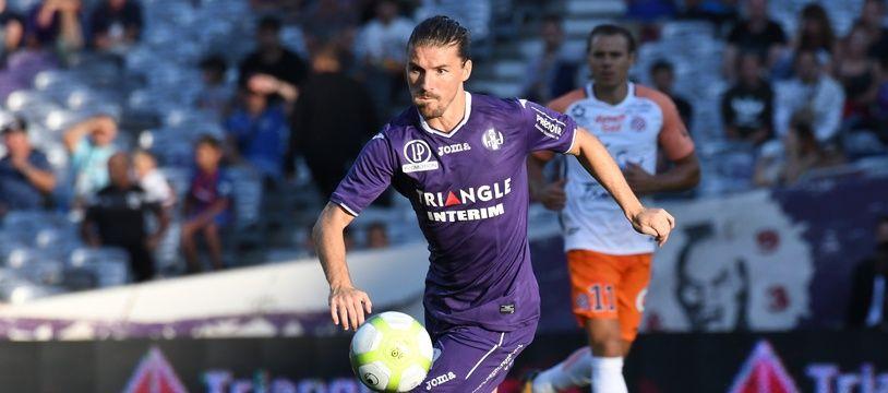 Yannick Cahuzac, le milieu de terrain du TFC, le 12 août 2017 contre Montpellier, en Ligue 1.
