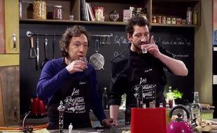 Stéphane Bern et Monsieur Poulpe dans l'émission «Recettes pompettes»