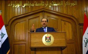 Nouri al-Maliki, alors Premier ministre irakien, donne une conférence de presse à Bagdad, le 30 avril 2008