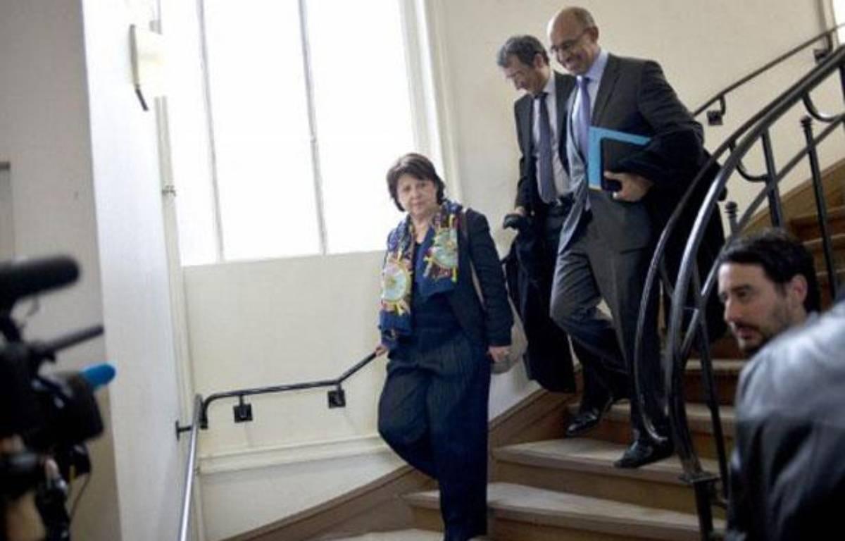 Martine Aubry et Harlem Désir, au siège du PS, à Paris, le 14 mars 2012.  – Fred DUFOUR / AFP