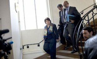 Martine Aubry et Harlem Désir, au siège du PS, à Paris, le 14 mars 2012.