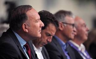 De GàD: le président du Medef Pierre Gattaz et les Vice presidents Geoffroy Roux de Bezieux, Patrick Bernasconi et Jean-François Pilliard le 24 août 2014 à Jouy-en-Josas
