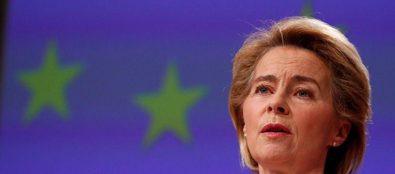 La présidente de la Commission européenne Ursula von der Leyen, le 2 avril 2020 à Bruxelles.