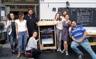 Les équipes du Carillon et de Cap ou pas cap, à l'inauguration du frigo en libre service de La Cantine du 18e, en juin 2017.