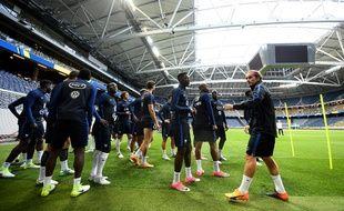 L'équipe de France à l'entraînement à la veille de Suède-France, le 8 juin 2017.