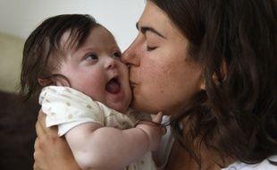 Caroline Boudet et sa fille Louise le 11 juin 2015.