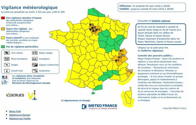 Alerte neige et verglas en Ile-de-France samedi