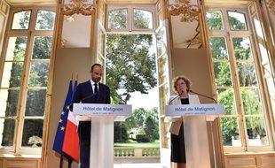 Le Premier ministre Edouard Philippe et la ministre du Travail Muriel Pénicaud le 31 août 2017 lors de la conférence de presse sur la réforme du Code du travail.