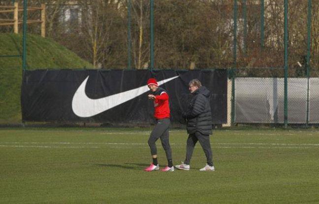 David Beckham lors de premier entraînement avec le PSG, le 13 janvier 2013