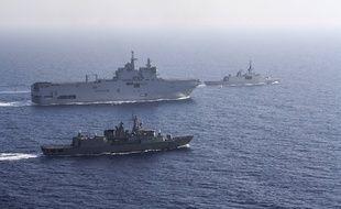 Exercices militaires franco-grecs en méditerranée orientale le 13 août 2020.