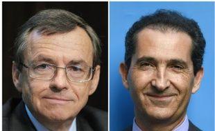 Montage de portraits d'archives d'Alain Weill le 6 novembre 2012 et Patrick Drahi le 24 juin 2015