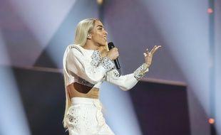 Bilal Hassani lors de sa deuxième répétition sur la scène de l'Eurovision, le 12 mai 2019.