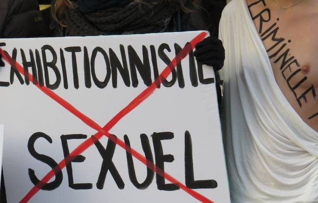 A Lille, le 24 fevrier 2016 - Manifestation des mouvements feministes, devant le tribunal de Lille, à l'occasion du procès de trois Femen, accusee d'exhibition sexuelle.