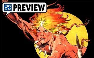 Détail d'une aventure de Rahan, héros de BD préhistorique