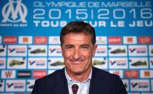 Michel, lors de sa première conférence de presse en tant qu'entraîneur de l'OM, le 21 août 2015.
