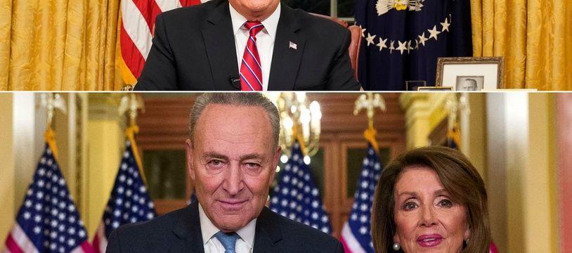 Photomontage des interventions de Donald Trump et des démocrates Chuck Schumer et Nancy Pelosi sur la crise du shutdown, qui coince toujours sur le mur souhaité par le président américain à la frontière.