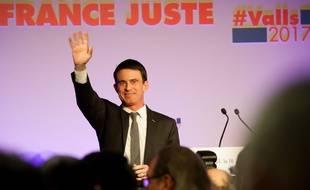 L'ancien Premier ministre Manuel Valls, lors d'un meeting à Boisseuil, en Haute Vienne, le 18 janvier 2017.