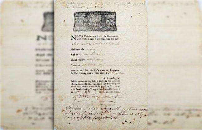 Exemple de «passeport de santé» daté de 1720 et qui permettait à l'intéressé de voyager.