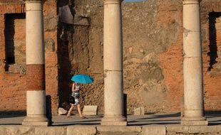 Une touriste à Pompéi en 2015.