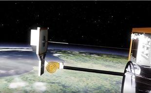 RemoveDEBRIS déploie une cible pour simuler un déchet spatial.