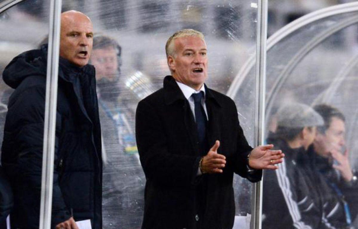 Didier Deschamps, lors de la victoire 1-0 de l'équipe de France contre la Finlande, le 9 septembre, à Helsinki. – F.FIFE/AFP
