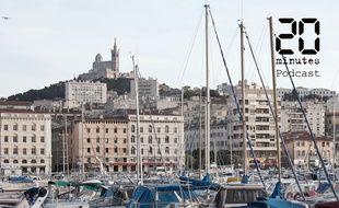 Illustration de Marseille, du port vers la basilique Notre-Dame-de-la-Garde