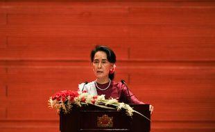 Aung San Suu Kyi lors de son discours, le 19 septembre 2017.