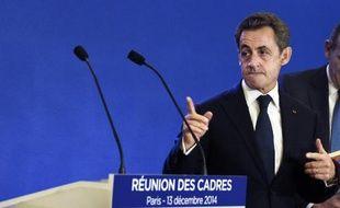 Nicolas Sarkozy le 13 décembre 2014 à Paris lors d'une réunion des cadres UMP