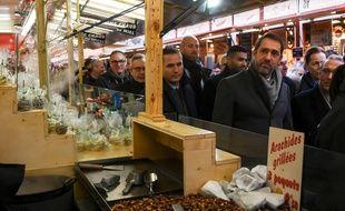 Strasbourg, le 14 décembre 2018 - Christophe Castaner, ministre de l'Intérieur, en visite au marché de Noël au lendemain de la mort de Cherif Chekatt, suspect principal de l'attentat de Strasbourg.