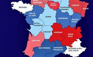 Le projet de redécoupage des régions présenté par l'Elysée le 3 juin 2014