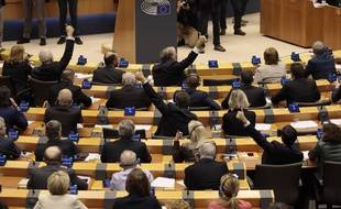 Les députés européens lors du vote final sur l'accord de Brexit, le 29 janvier 2020 à Bruxelles.