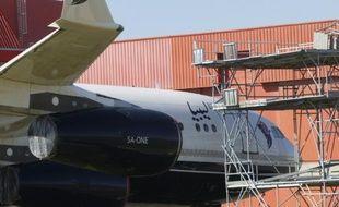 L'Airbus A340 de l'ancien dictateur libyen, Mouammar Kadhafi, photographié le 14 octobre 2015 à Rivesaltes