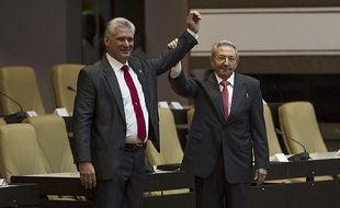 Miguel Diaz-Canel succède à Raul Castro, à l'Assemblée cubaine à La Havane, le 19 avril 2018.