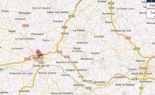 Google map de la ville d'Angers (Maine-et-Loire).