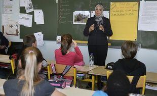 Latifa Ibn Ziaten lors d'une intervention à l'école Jean Dargassies à Eaunes, le 19 mars 2015.