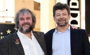 Peter Jackson et l'acteur Andy Serkis, qui interprète Gollum, à Hollywood en décembre 2014.