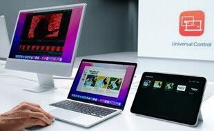 Le vice-président d'Apple en charge du software, Craig Federighi, fait une démonstration du Contrôle universel entre un Mac sous MacOS Monterey et un iPad.