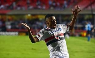 Michel Bastos fête un but avec Sao Paulo le 18 novembre 2016.