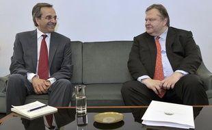 Le leader de Nouvelle Démocratie, Antonis Samaras (à gauche) et son homologue du Pasok, Evangélos Vénizélos, le 18 juin 2012, à Athènes (Grèce).