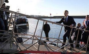 Le président Emmanuel Macron lors de sa visite au Guilvinec (Finistère), le 21 juin 2018.