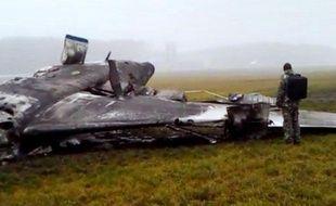 L'avion du PDG de Total, Christophe de Margerie, après son crash à l'aéroport de Vnoukovo près de Moscou, le 21 octobre 2014