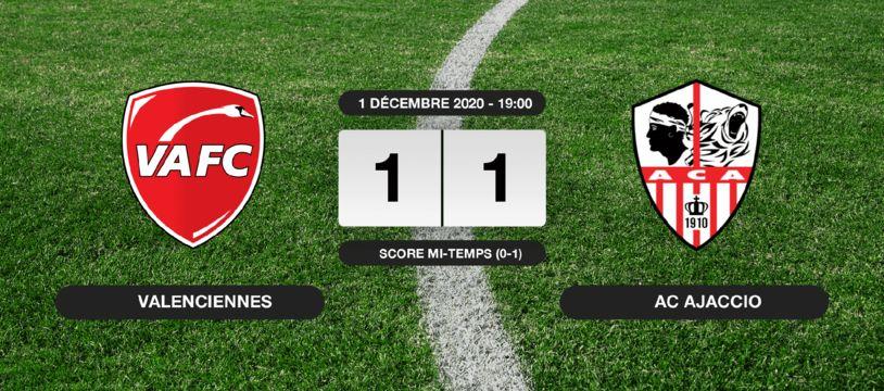 Ligue 2, 13ème journée: Match nul entre le VAFC et l'AC Ajaccio (1-1)